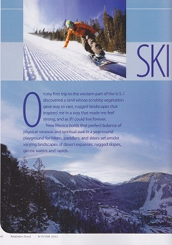 Pathfinders Travel Ski New Mexico article by Annie Tobey, pg 1